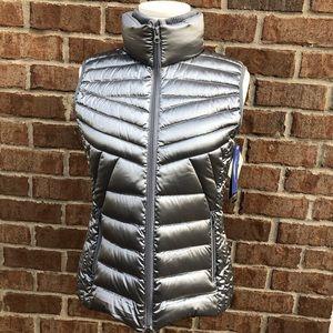 Bernardo Goose Down Silver Metallic Puffer Vest